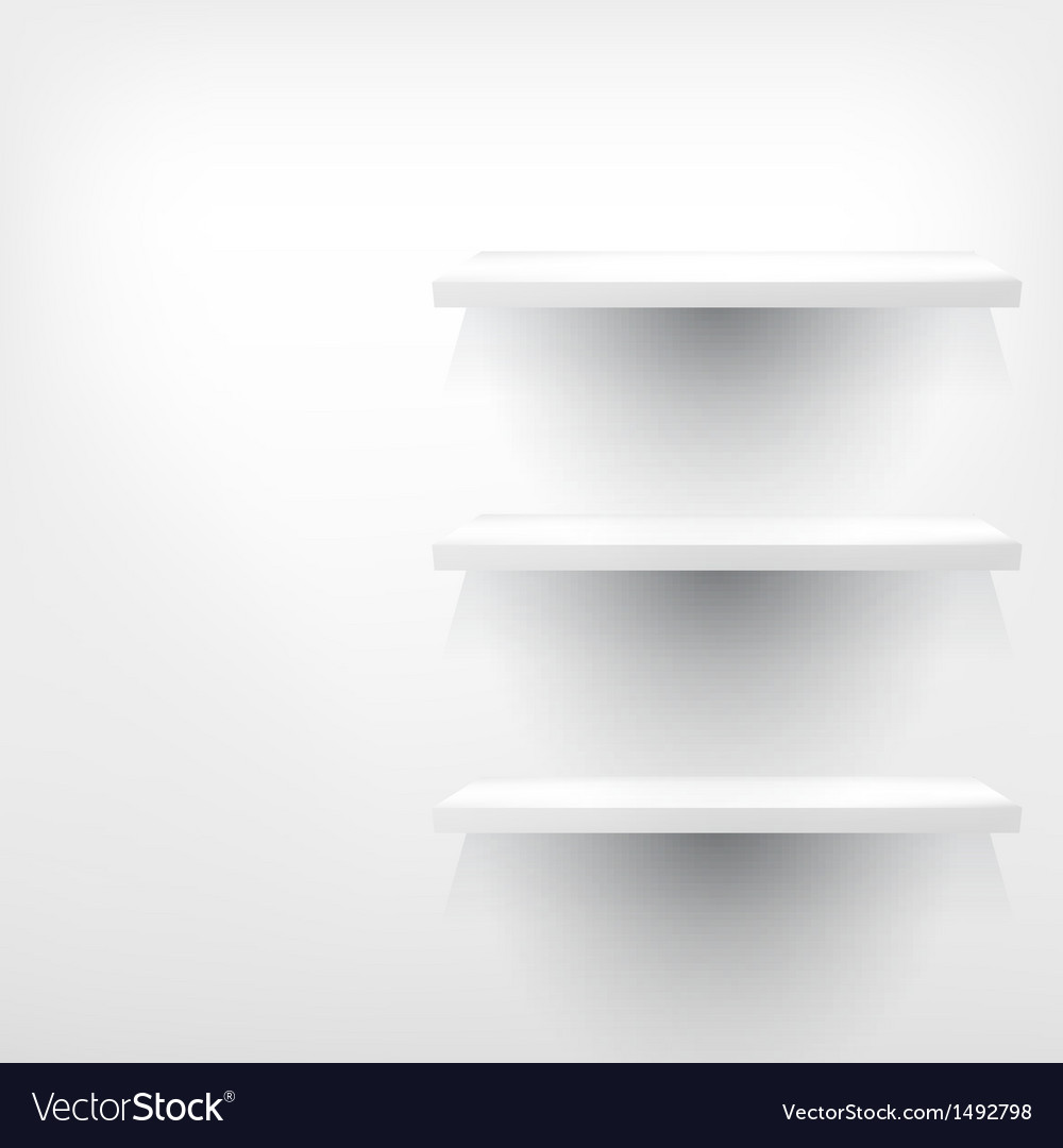Empty white wooden shelf at the wall vector | Price: 1 Credit (USD $1)