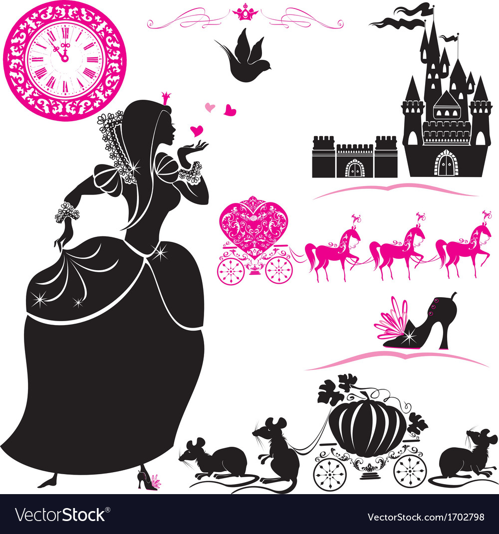 Fairytale set  silhouettes of cinderella vector