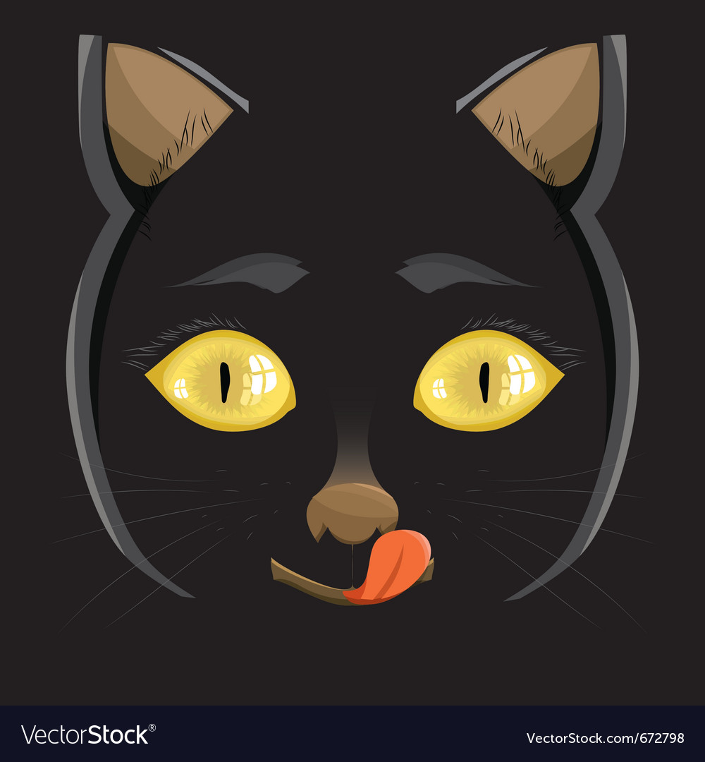 Head of a black cat with yellow eyes on a black b vector   Price: 1 Credit (USD $1)