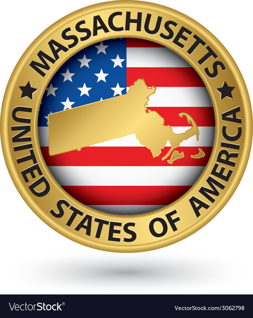 Massachusetts state gold label with state map vector | Price: 1 Credit (USD $1)