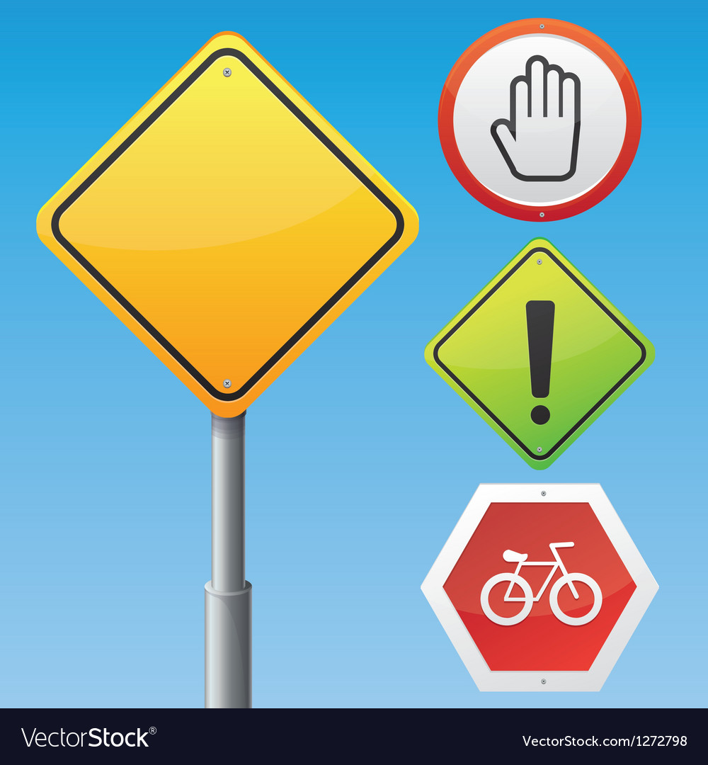 Road signs with different icons vector | Price: 1 Credit (USD $1)