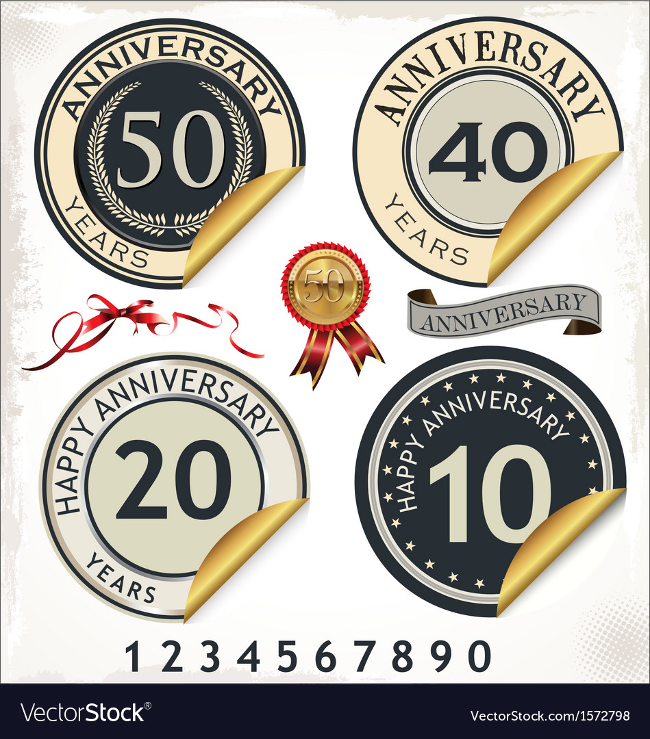 Set of anniversary labels vector | Price: 3 Credit (USD $3)