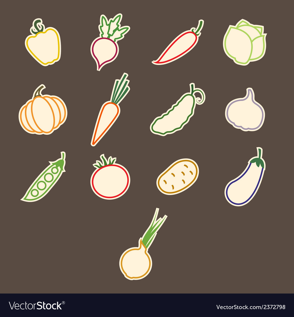 Stickers contours vegetables vector | Price: 1 Credit (USD $1)