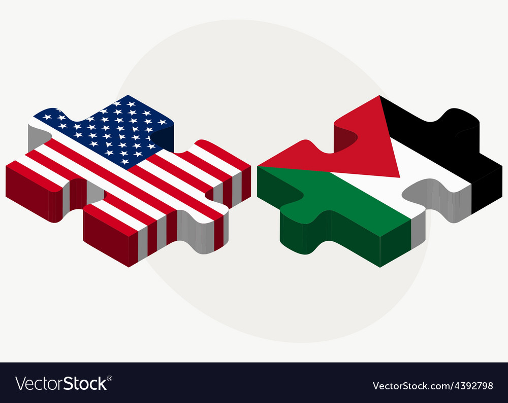 Usa and state of palestine flags in puzzle vector | Price: 1 Credit (USD $1)