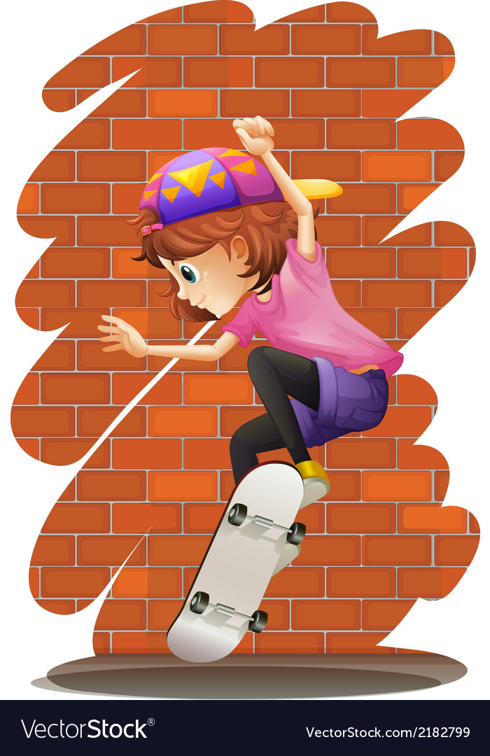 An energetic little girl skateboarding vector | Price: 1 Credit (USD $1)