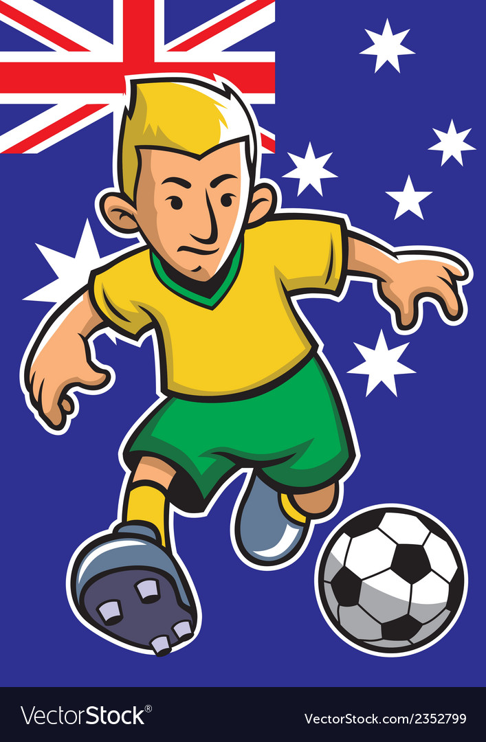 Australia soccer player with flag background vector | Price: 1 Credit (USD $1)