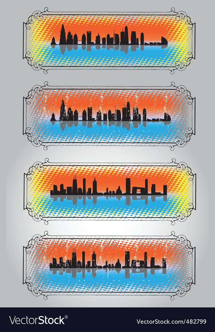 City skyline and silhouettes 2 vector | Price: 1 Credit (USD $1)