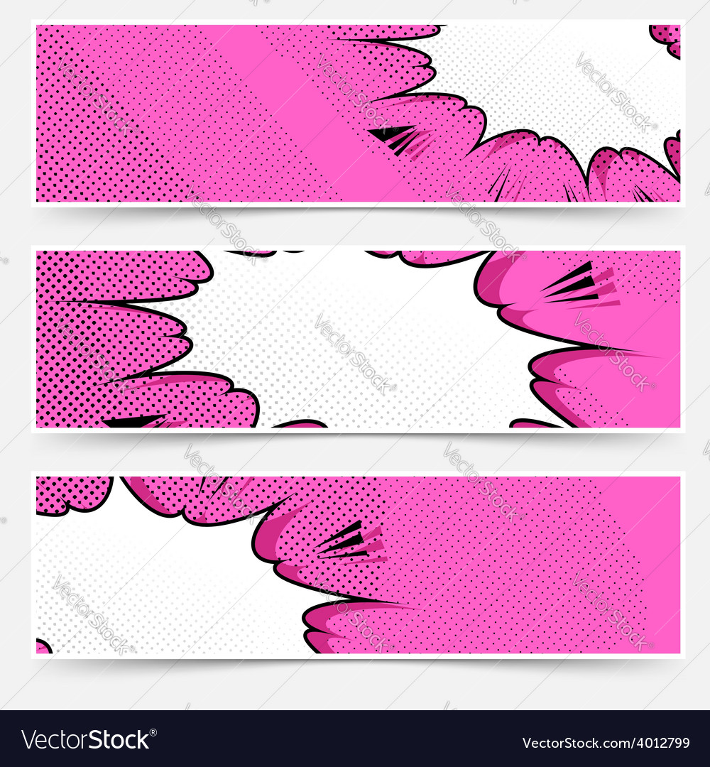 Comic book pop art style header collection vector | Price: 1 Credit (USD $1)