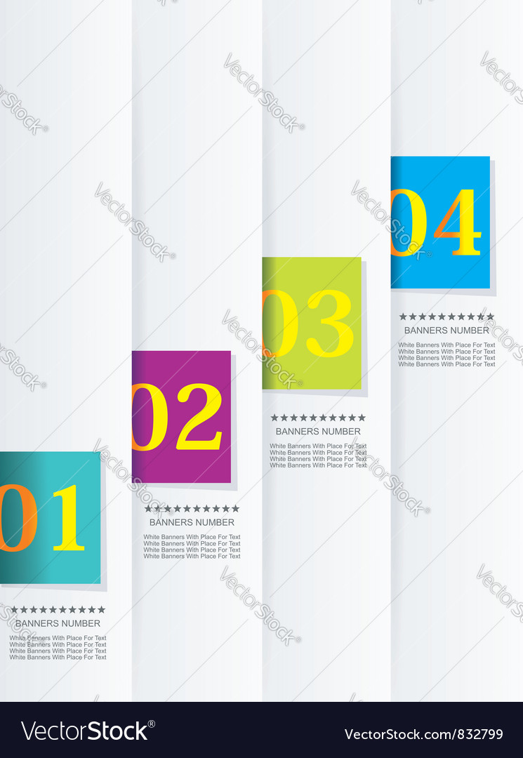 Design template numbered banners vector | Price: 1 Credit (USD $1)