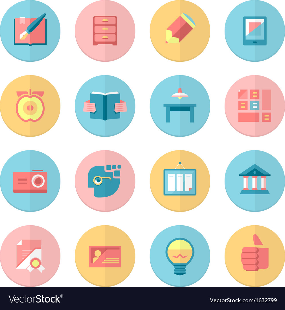 Education and training 16 flat icons set vector | Price: 1 Credit (USD $1)