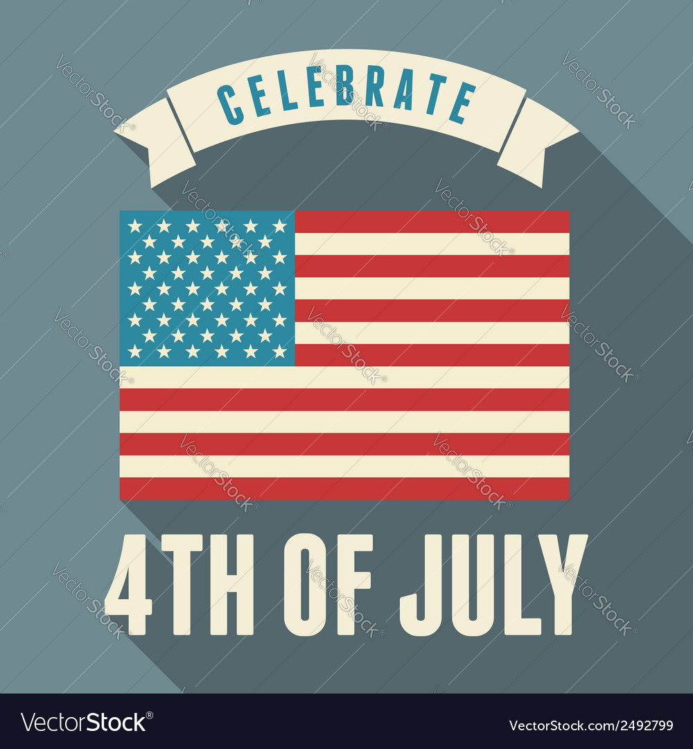 Flat design long shadow usa july 4th greeting card vector | Price: 1 Credit (USD $1)