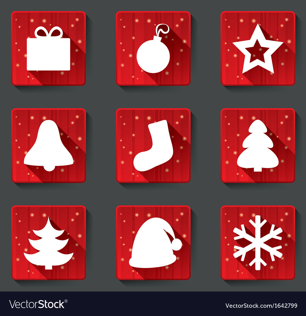 Merry christmas flat paper icons with shadows vector | Price: 1 Credit (USD $1)