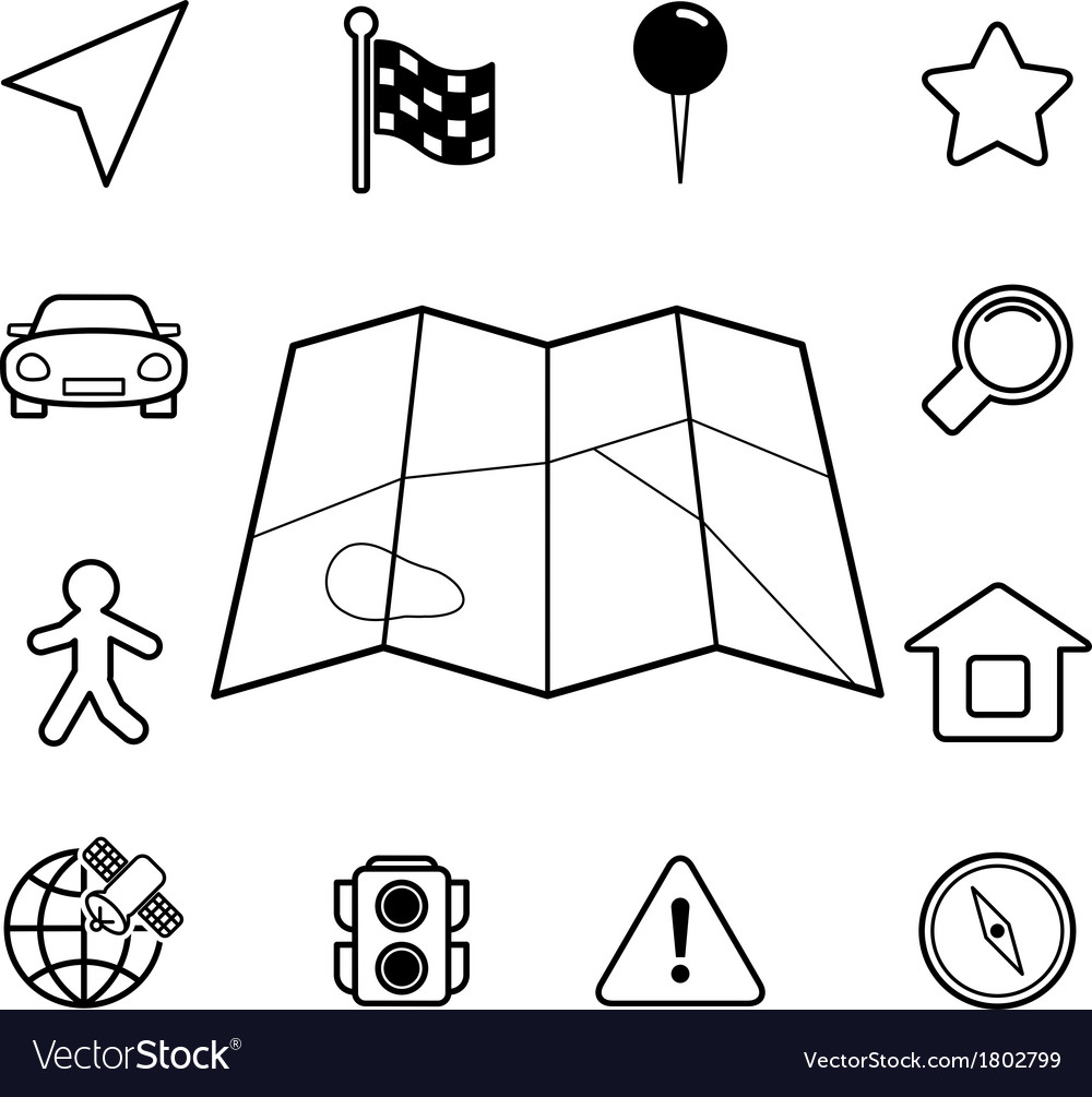Navigation iconset contour flat vector | Price: 1 Credit (USD $1)