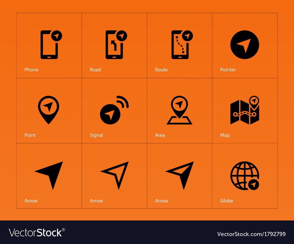Navigator icons on orange background vector | Price: 1 Credit (USD $1)