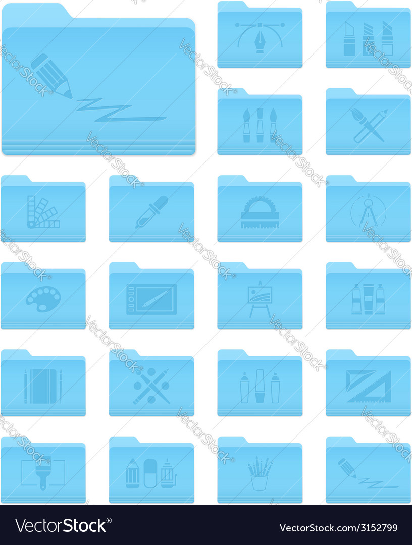 Os x folders with art and design icons vector | Price: 1 Credit (USD $1)