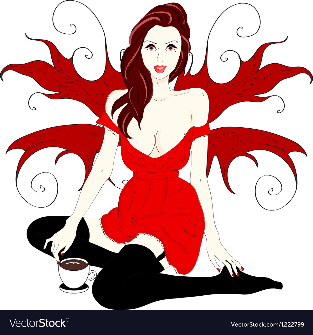 Picture of red angel in stockings over white vector | Price: 1 Credit (USD $1)