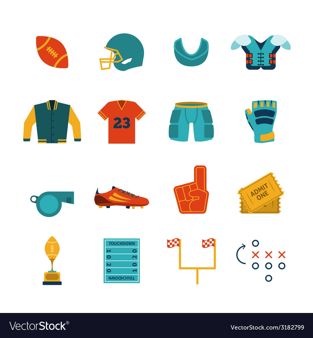 Rugby flat icons set vector | Price: 1 Credit (USD $1)