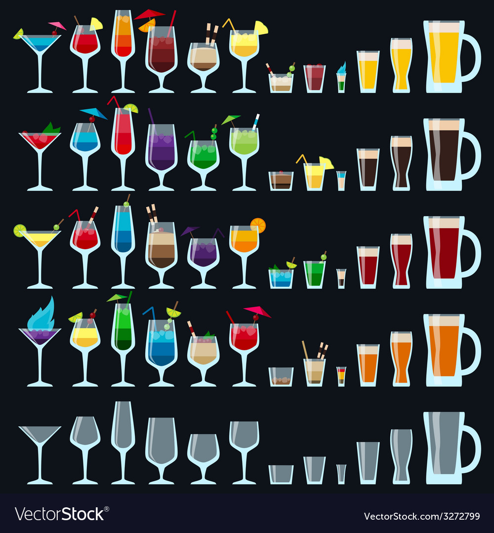 Set of colorful alcohol drinks vector | Price: 1 Credit (USD $1)