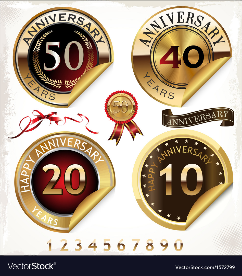 Set of golden anniversary labels vector | Price: 3 Credit (USD $3)