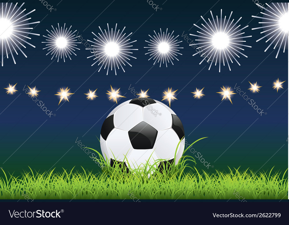 Soccer ball and night stadium vector | Price: 1 Credit (USD $1)