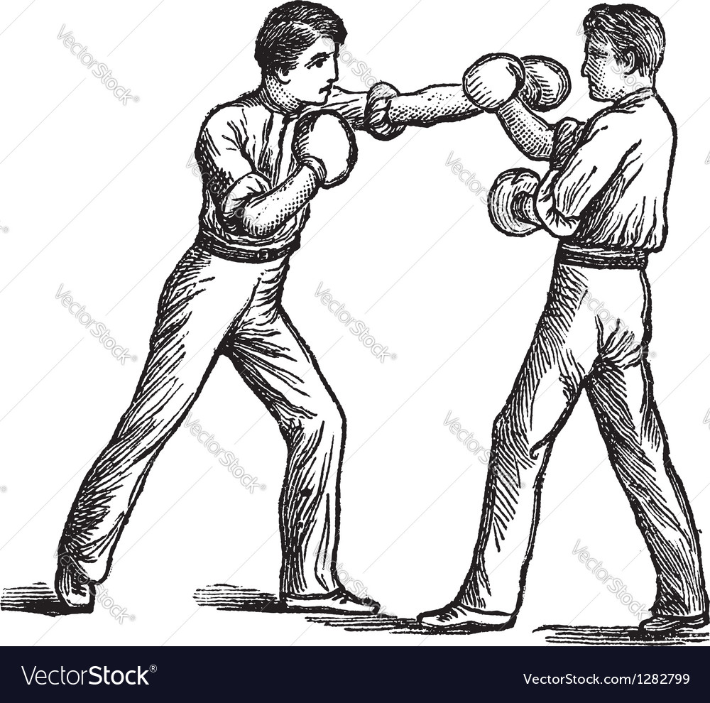 Two boxers boxing vintage engraving vector | Price: 1 Credit (USD $1)