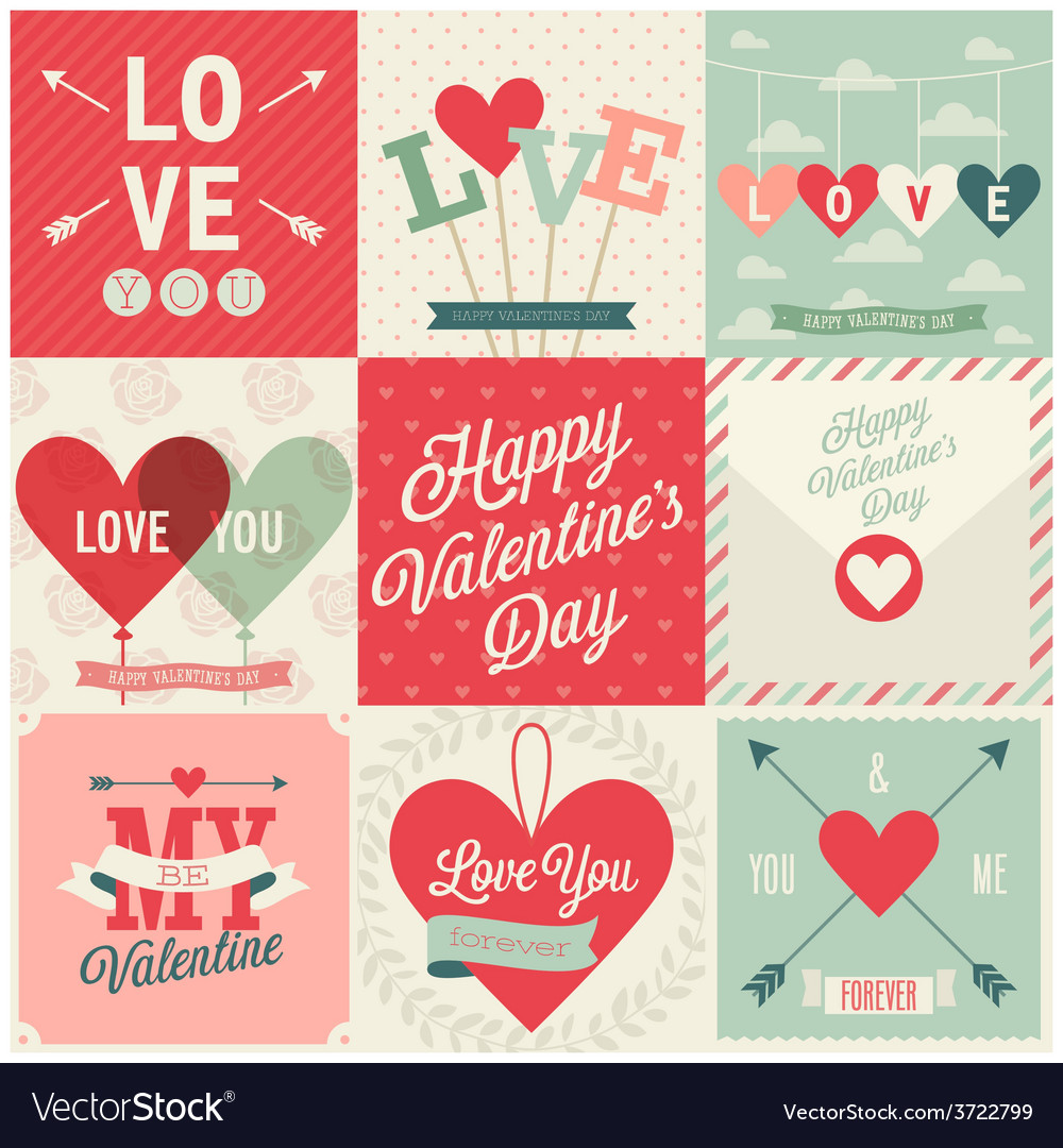 Valentines day set vector | Price: 1 Credit (USD $1)