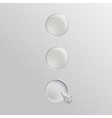 Three white buttons with cursor vector