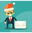 Happy businessman in santa claus hat letter with vector