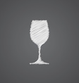 Wineglass sketch logo doodle icon vector