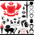 Set of heraldic silhouettes elements vector