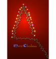 Christmas tree formed garland lights vector