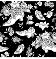 Seamless background with flowers and shoes vector