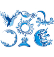 Water splashes collection vector