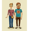Hipsters couple vector