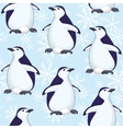 Seamless pattern penguins and snowflakes vector