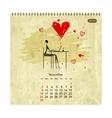 Girls retro calendar 2014 for your design vector