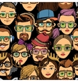 Hipster faces seamless background print vector