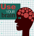 Use your brain concept with abstract head vector