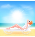 Girl suit lying on a chaise lounge vector