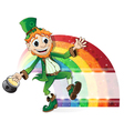 Leprechaun with a pot of gold and rainbow vector