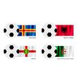 Soccer ball with aland albania alderney flag vector