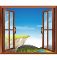 A window with a view of the cliff at the river vector