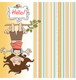 Amused young girl standing with her head hanging vector