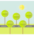Infographic with road tree and sun flat design vector