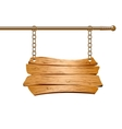 Wooden sign suspended on chains vector