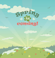 Sping is coming greeting card vector