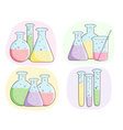 Laboratory test tubes with colored liquid vector