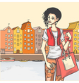 Beautyful girl shoppping vector