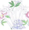 Seamless pattern with irises and peonies vector