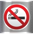 No smoking symbol on a chromium background vector